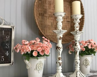 Shabby Chic Candle Holders, White Wedding, Table Centerpiece, Mantle Candle Stick, Set of 2, Pillar Candle Stick, Distressed Candle Holder