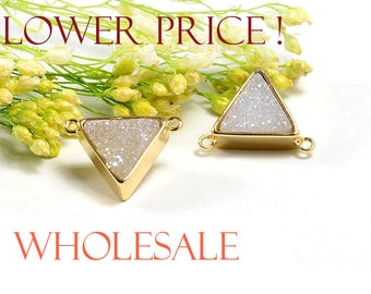 Sale! Triangle Druzy WHOLESALE in AB color, AB Druzy Connector, Natural Titanium Agate Drusy Gemstone Jewelry  - 5 pcs/ pkg
