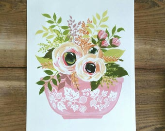 Flowers and Pyrex - PRINT of original art - Gooseberry print in pink - kitchen art - farmhouse decor