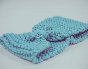 Knot headband 100% wool - Alpaca & Merino - very soft and fluffy blue water