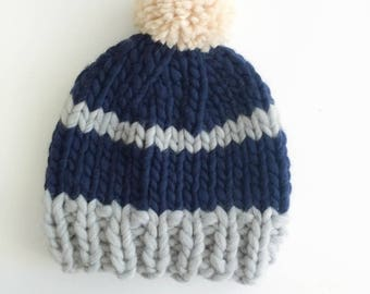 Hat adult Merino Wool - blue gray striped with Pompom
