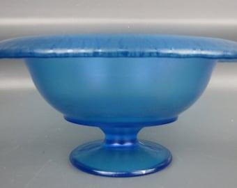 Stretch Glass - Northwood #655 Celeste Blue Rolled Rim Compote