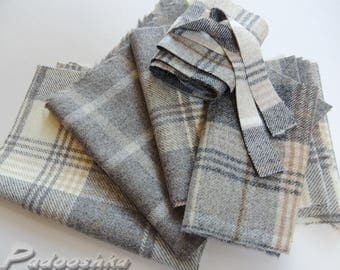 Scottish plaid fabric scraps Grey tartan wool patchwork applique sewing pack Abraham Moon grey tweed fabric bundle Small textile project