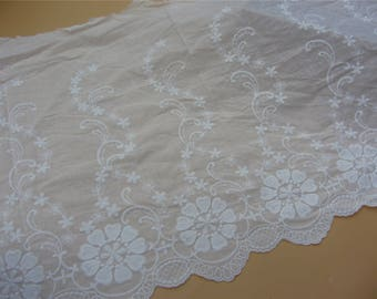 42cm Floral Cotton ivory Lace Trim,Cotton Lace Fabric in pure White, Retro Hollowed Flower Lace Embroidery Fabric Lace- Fabric by yard