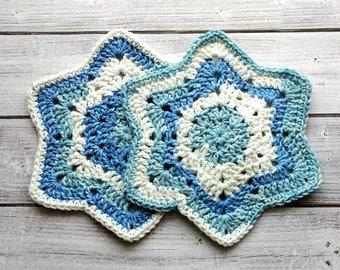 Crocheted Washcloths/Crochet Spa Cloth Set of 2/Star Dishcloths/Crochet Baby Washcloths/Handmade /100% Cotton/ Eco-Friendly