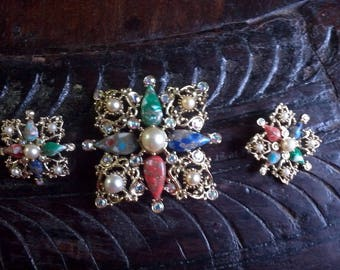 Sarah Coventry Galaxy Large Brooch and Clip Earrings Set Signed