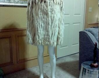 Saga Silver Fox Fur Coat,Artic Fox Jacket, Arctic Fox Coat, Real Silver Fox Fur Jacket, Saga Fox Fur Shaggy  Coat, Boho Jacket size M