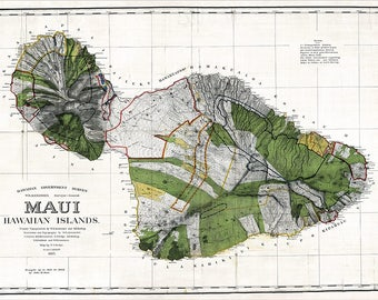 Maui HAWAII Map, Hawaiian Map, Maui, Oahu Map, Hawaii, Vintage Map, Antique Map, World Map, Maui Map, Molokai Map, 1943