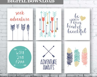 INSPIRATIONAL Wall Art Prints -Set of 6 - Instant Download- Adventure Quote Art. Adventure Quote Print. Coral Aqua Navy Gold Wall Art. Love