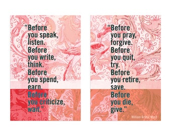 "Quote by William Arthur Ward, ""Before you speak..."" Double Panel Wall Art, each piece sized at 8x12 for you to print and hang side by side"