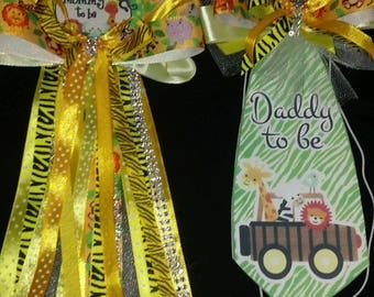 Baby shower it's a jungle safari Mommy To Be and a matching Daddy To Be corsage