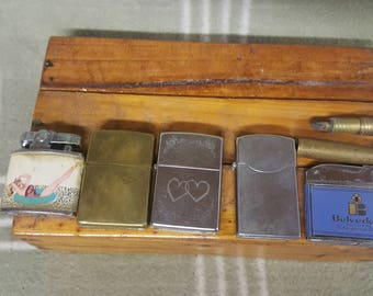 6 Vintage Lighters. Instant Collection. Tobaccania. Cigarette. Zippo. Auer. Advertising. Pin Up.
