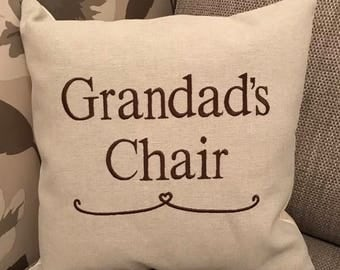 "Laura Ashley Austen Fabric Embroidered 16"" Family Cushion Cover Grandad's Chair Dad Fathers Day Birthday Gift"
