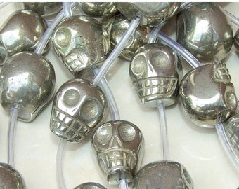 Pyrite Skull - Skull Pyrite Beads - Slab - 18mm x 18mm x 16mm Center Drilled