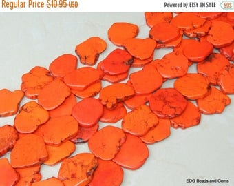 Large Orange Magnesite Slab Stone Beads -  Large Free Form - Orange with Black Veining - 15 inch strand - 45mm x 50mm