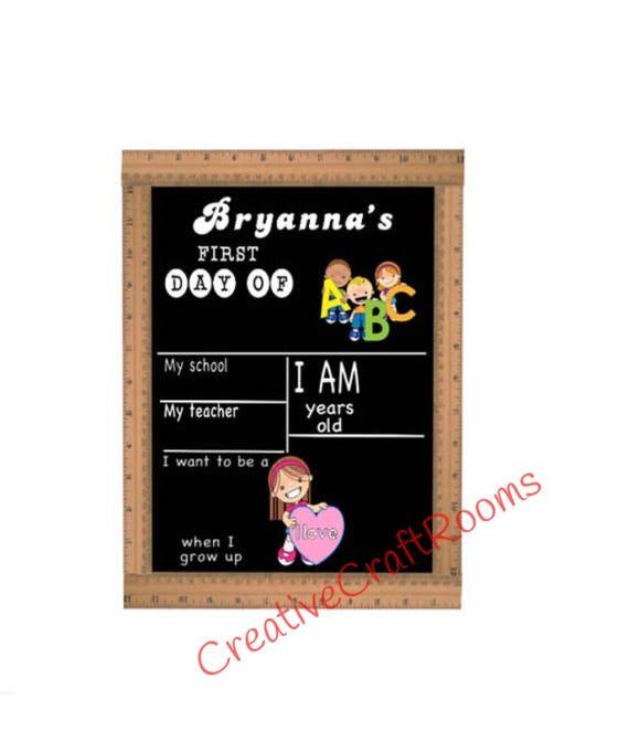 First Day of School Chalkboard Sign, Reusable First Day of School Chalkboard, First Day of School Sign Ruler, Back to School Ruler Sign