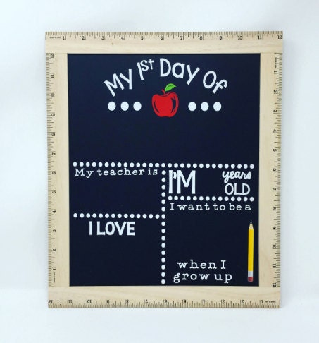 chalkboard sign, first day of school sign