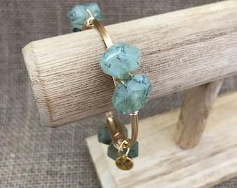 Prehnite Nugget Wire Wrapped Natural Stone Bangle Bracelet