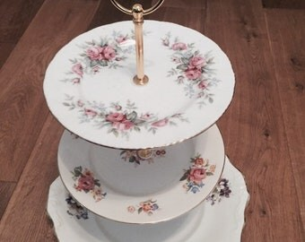 Vintage 3 tier mismatched cake stand wedding / party / christening / easter