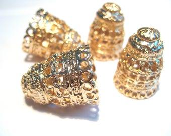 KC Gold Extra Large Tassel Caps Cone Caps Bead Caps