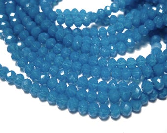 1 Strand Blue Faceted Rondelle Glass Beads 4x3mm ( No.01)