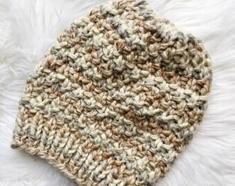 Handmade Knit Hat, Knit Linden Hat, Knit Pom Pom Hat, Ready to Ship