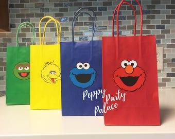 Sesame Street Party Bags, Sesame Street Party, Elmo Party, Elmo Treat Bags