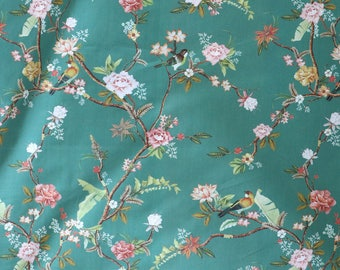 Fabric - Lady McElroy - Soft jade green floral and bird - 100% cotton lawn - woven fabric