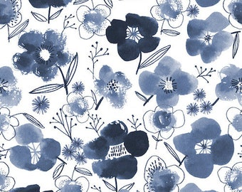 Fabric - Dashwood studios - Copenhagen, blue flowers - medium weight woven cotton fabric.