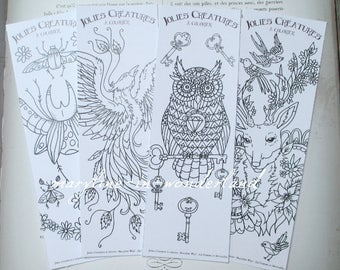 set of 4 bookmarks coloring, coloring bookmark