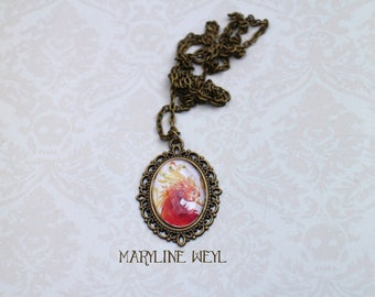 Phoenix Firebird silver Cabochon necklace