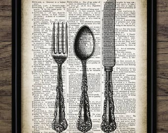 Fork Knife And Spoon Print - Silverware Design - Cutlery - Kitchen Decor - Dining Room Wall Art - Single Print #2433 - INSTANT DOWNLOAD