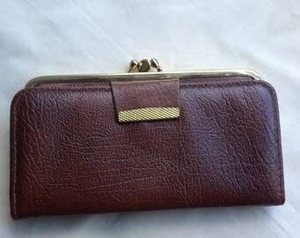 Vintage ladies leather wallet purse , brown wallet, brown purse, 70s.