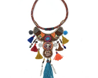 choker bohemian necklace Multilayer Tassel beads tassel Pendant ethnic Collar Women Big Gypsy Statement Necklace