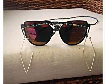 Black Geometric Dreamcatcher Embellished Sunglasses