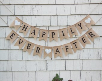 Happily Ever After Banner, Happily Ever After Bunting, Rustic Wedding Decor, Burlap Banner, Burlap Bunting, Rustic Country Bridal Shower
