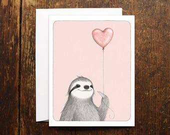 Sloth Love card illustration