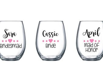Personalized Stemless Wine Glasses / Bachelorette Wine Glasses / Bride Wine Glass Stemless / Wedding Wine Glass Personalized Bridesmaid