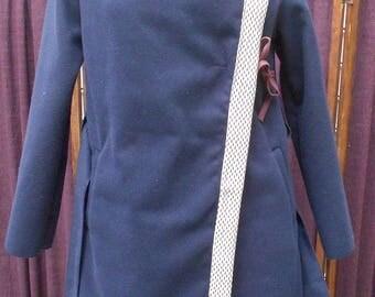 manteau bleu en laine feutrée magnifique personnalisable