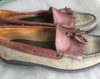 Men's SEBAGO two toned mocassin boat shoes with tassels