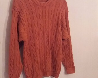 Orange Cable Knit Jumper Sweater Vintage 70s 80s 90s Marks and Spencer