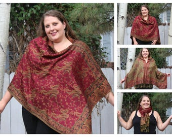 Red and Gold All-Over Paisley Pashmina Poncho Shawl