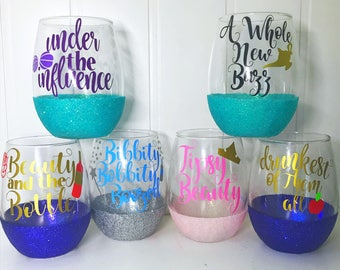 Princess Wine Glass Set of 6/ Disney Bachelorette/ Disney Cruise/ Disney Girls Trip/ Disney Wedding/ Disneyland Birthday