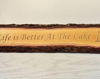 Life is Better at the Lake Bark Edge Door Topper
