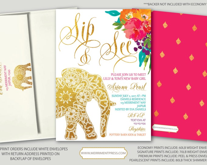 Indian themed Sip and See Invitation // Bollywood // Elephant // Paisley // Gold // Floral // Pink // Orange / Purple / JAIPUR COLLECTION