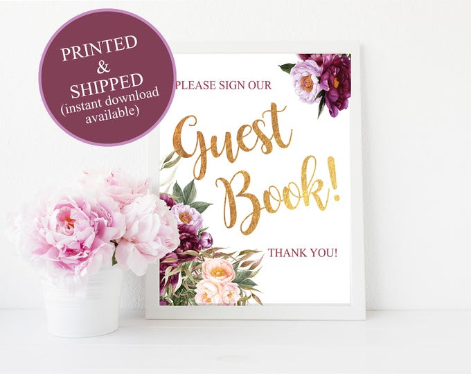 Guest Book Sign // Sign the Guest Book // Bridal // Printed // Baby Shower // Floral // Burgundy // 8x10 // 5x7 // FLORENCE COLLECTION