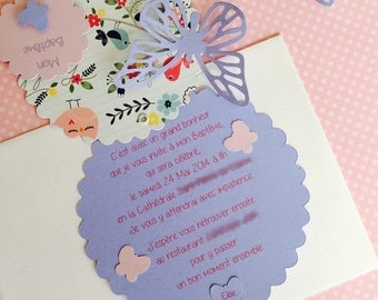 Christening or birth announcement Butterfly round