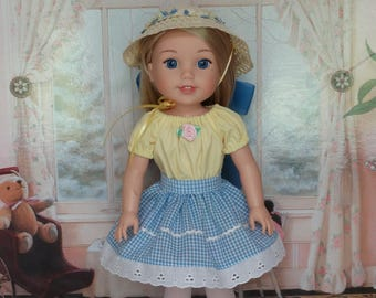 Handmade Country Girl Outfit and Straw Hat to fit 14.5 in Dolls such as wellie wishers doll clothes AG