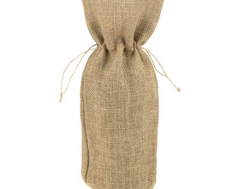 Burlap Wine Bag with Drawstrings, 15-Inch