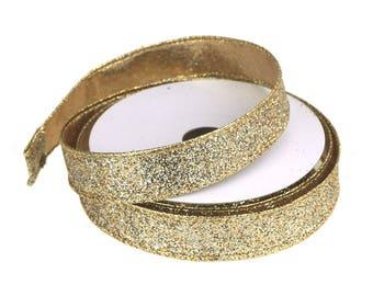 Metallic Glitter Wired Christmas Ribbon, 7/8-Inch, 10-Yards